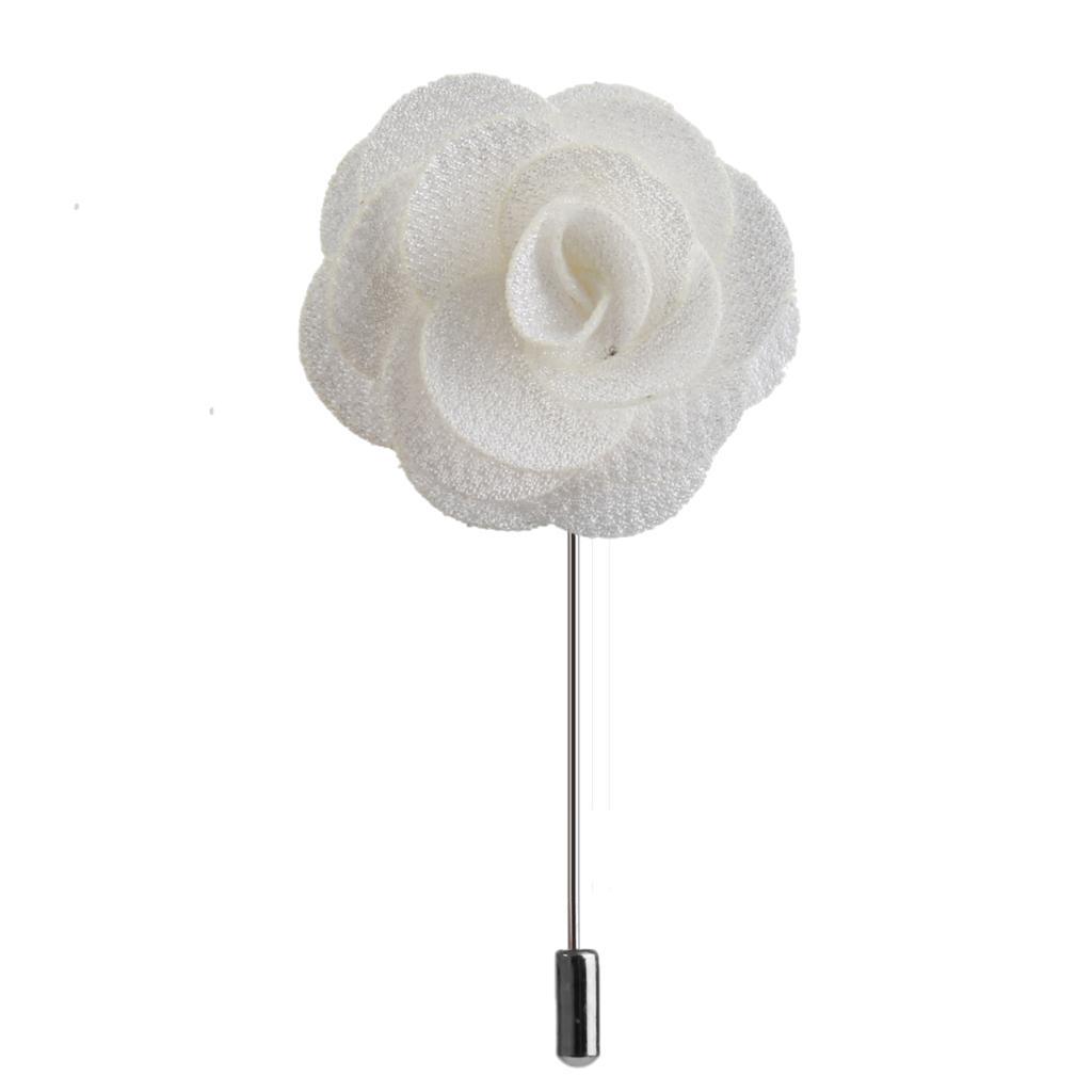 Handmade Fabric China Rose Lapel Men Brooch Boutonniere Tuxedo Pin Beige
