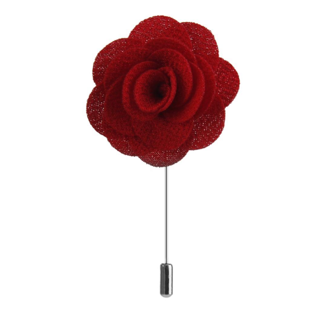 Handmade Fabric China Rose Lapel Men Brooch Boutonniere Tuxedo Pin Red