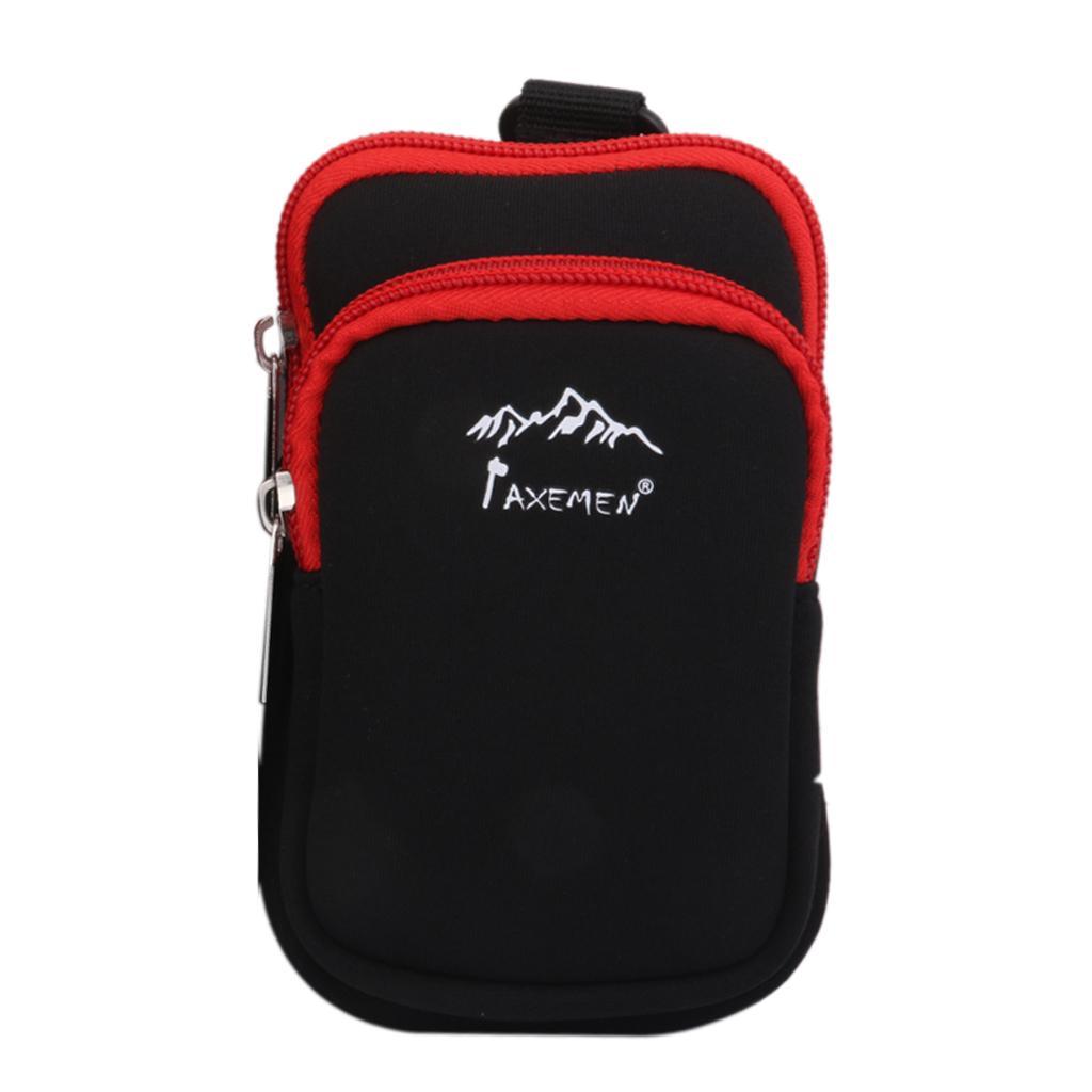 Neoprene Dual Zip Pocket Pouch Phone Bag Case for Hiking Climbing S Black