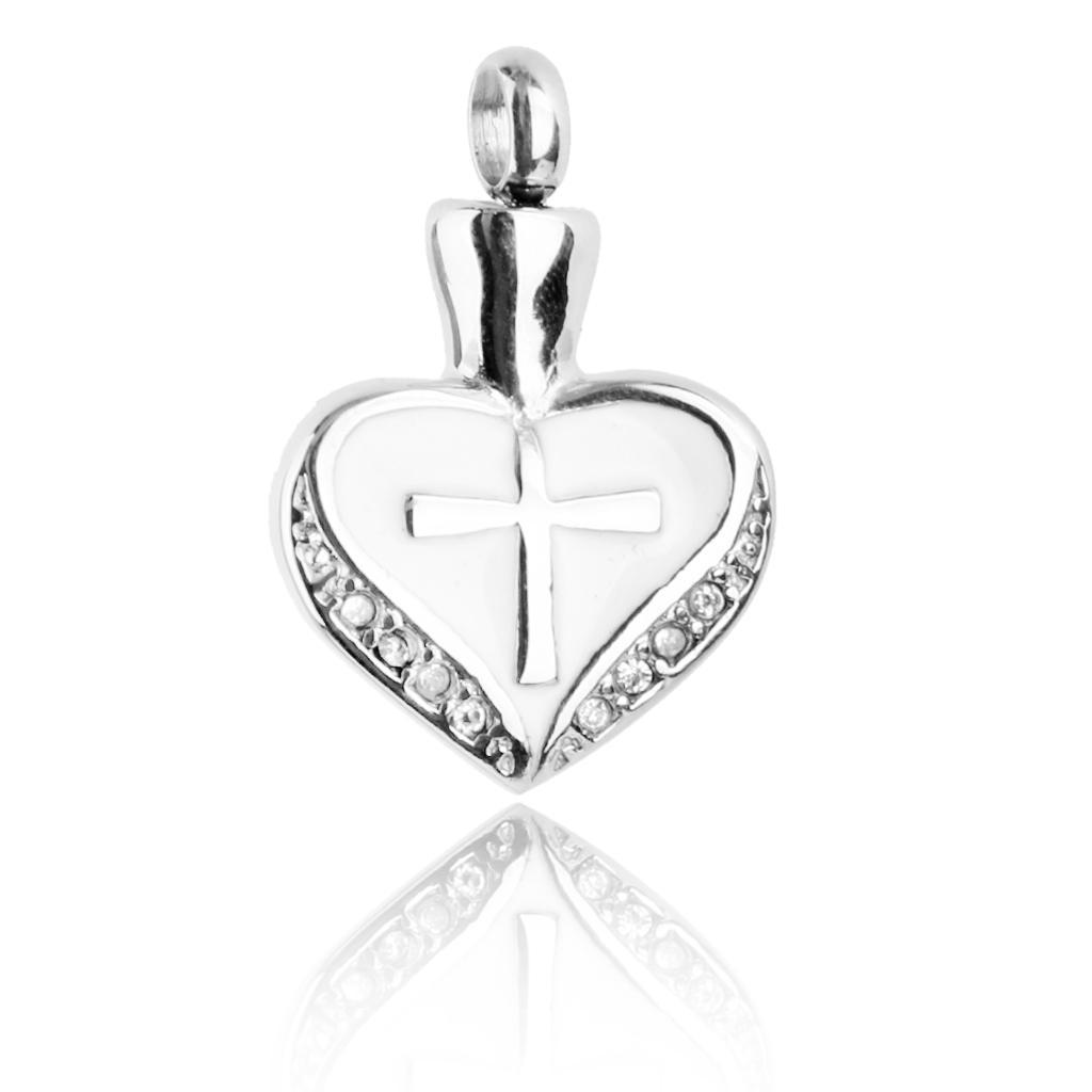 Stainless Steel White Heart Cross Cremation Urn Keepsake Memorial...