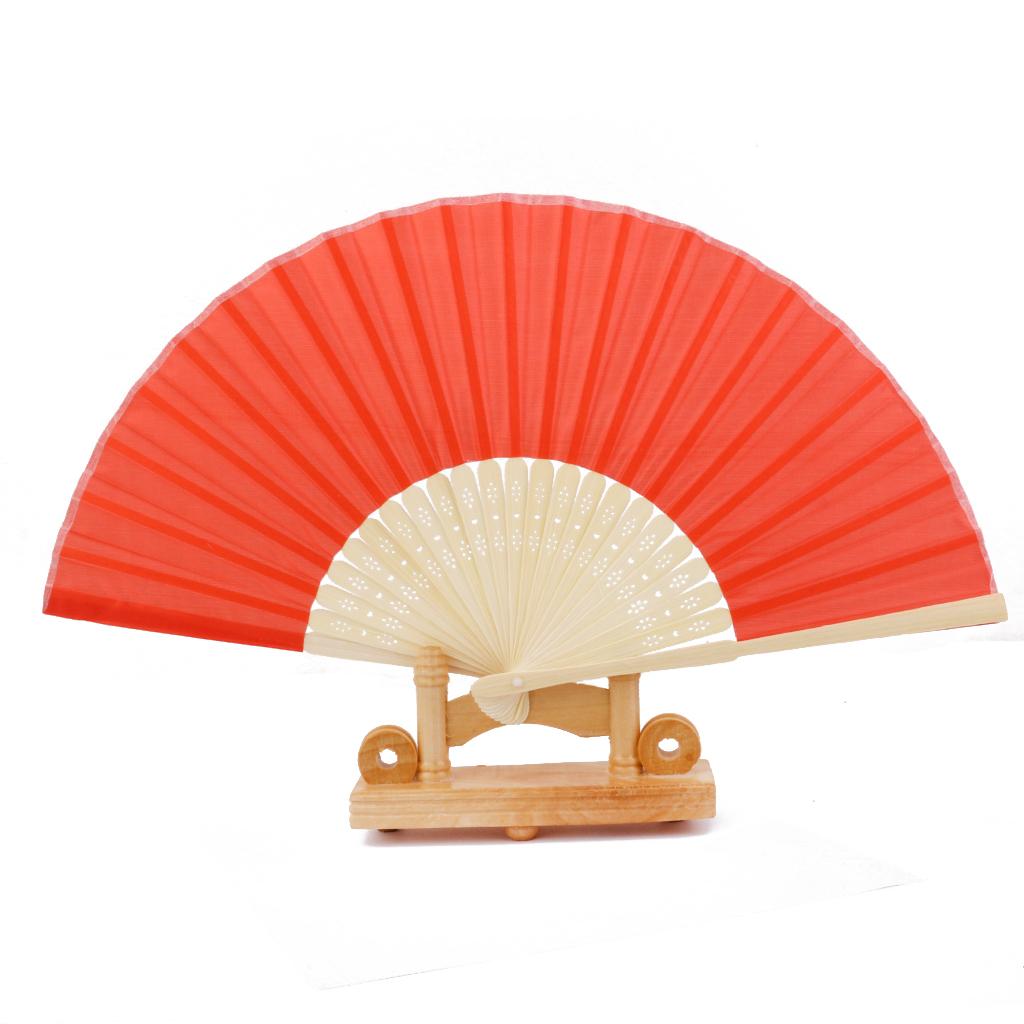 Chinese Folding Bamboo Fan Retro Hand Fan Wedding Favors Gift Red