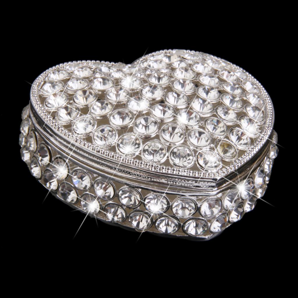 Handmade Silver Plated Crystal Rhinestone Heart Shape Jewelry Trinket Box