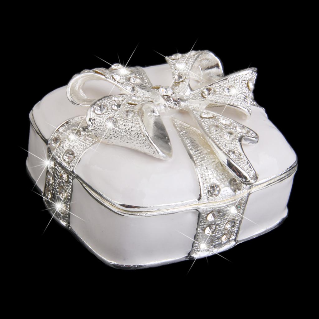Handmade Crystal Rhinestone Metal Bowknot Enamel Jewelry Trinket Box - Beige