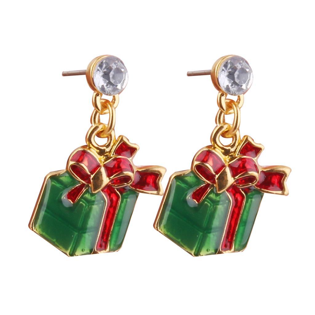 Pair Christmas Gift Box Pendant Earring Ear Stud Wedding Prom Xmas Gift
