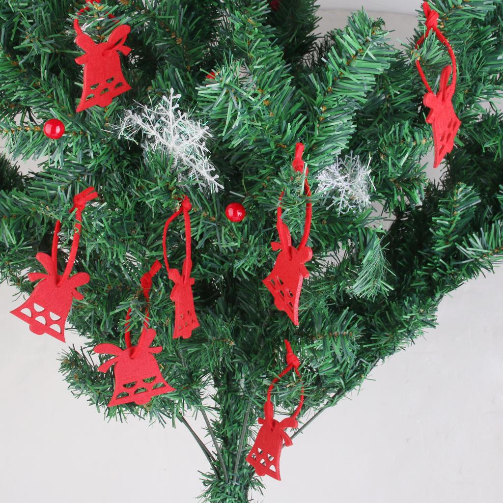 Christmas Tree Ornament Hooks Free Shipping : Pcs red xmas bell felt christmas trees ornament
