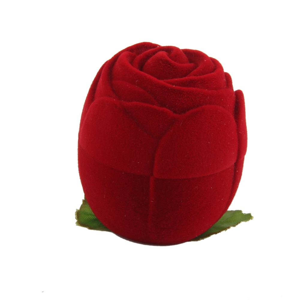 Velvet Ring Jewelry Display Storage Box Case Holder Organizer Red Rose