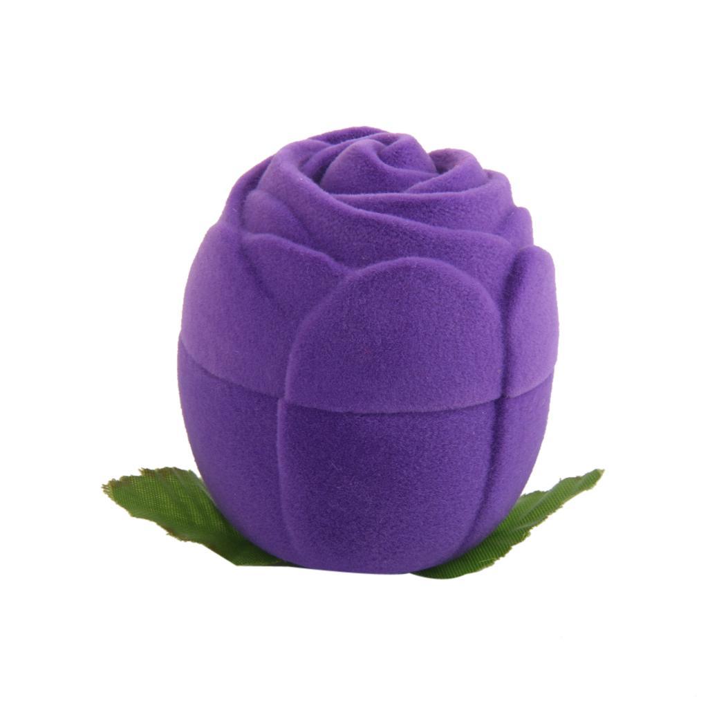 Velvet Ring Jewelry Display Storage Box Case Holder Organizer Purple Rose