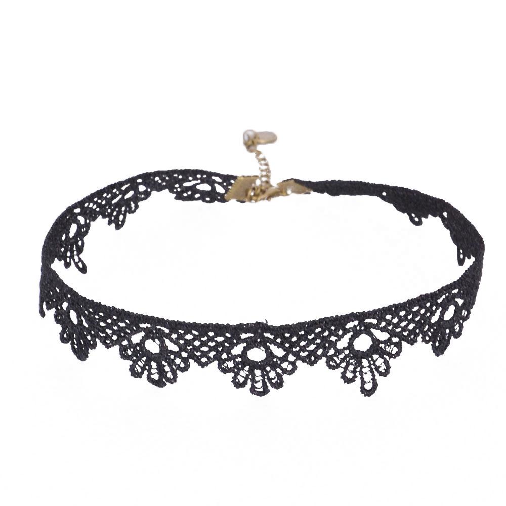 Women's Vintage Gothic Punk black Lace Flower Choker Necklace Chain