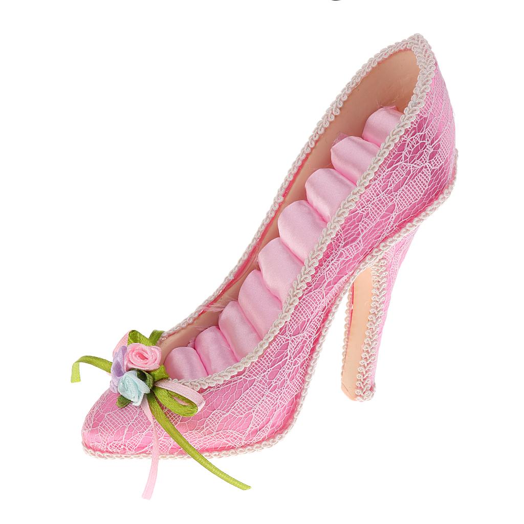 High Heel Shoe Ring Holder Storage Jewelry Display Stand Rack Organizer Pink