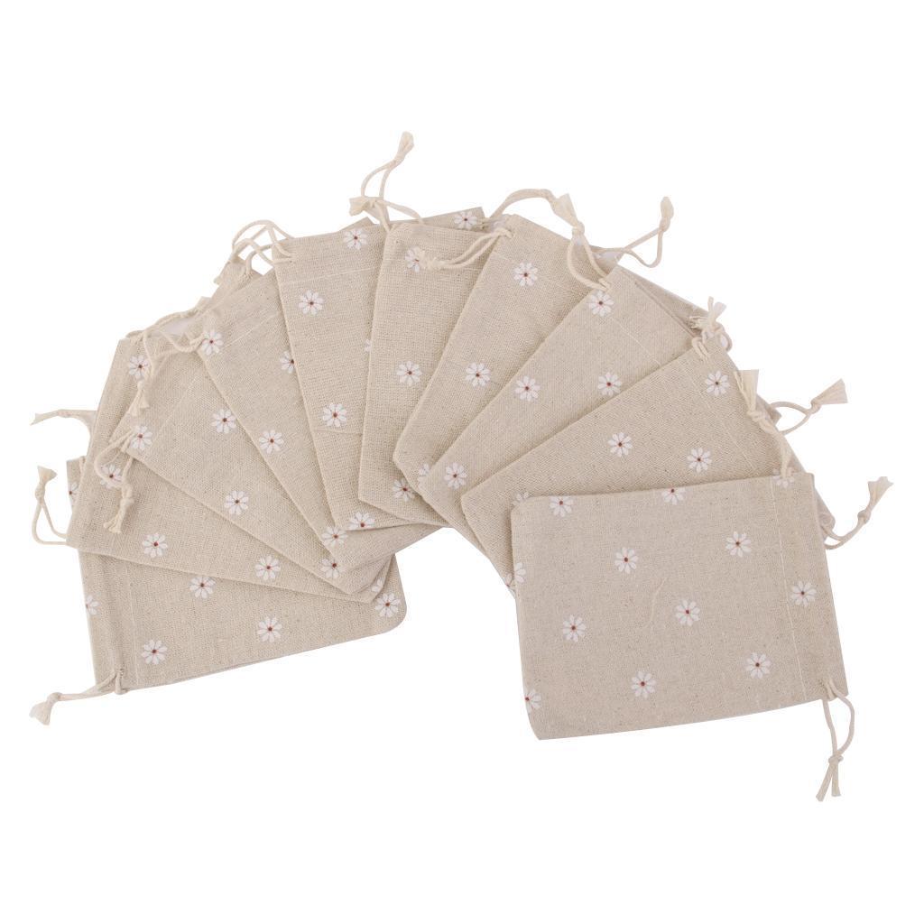 10pcs Daisy Flower Linen Jute Sack Jewelry Pouch Drawstring Gift Bags