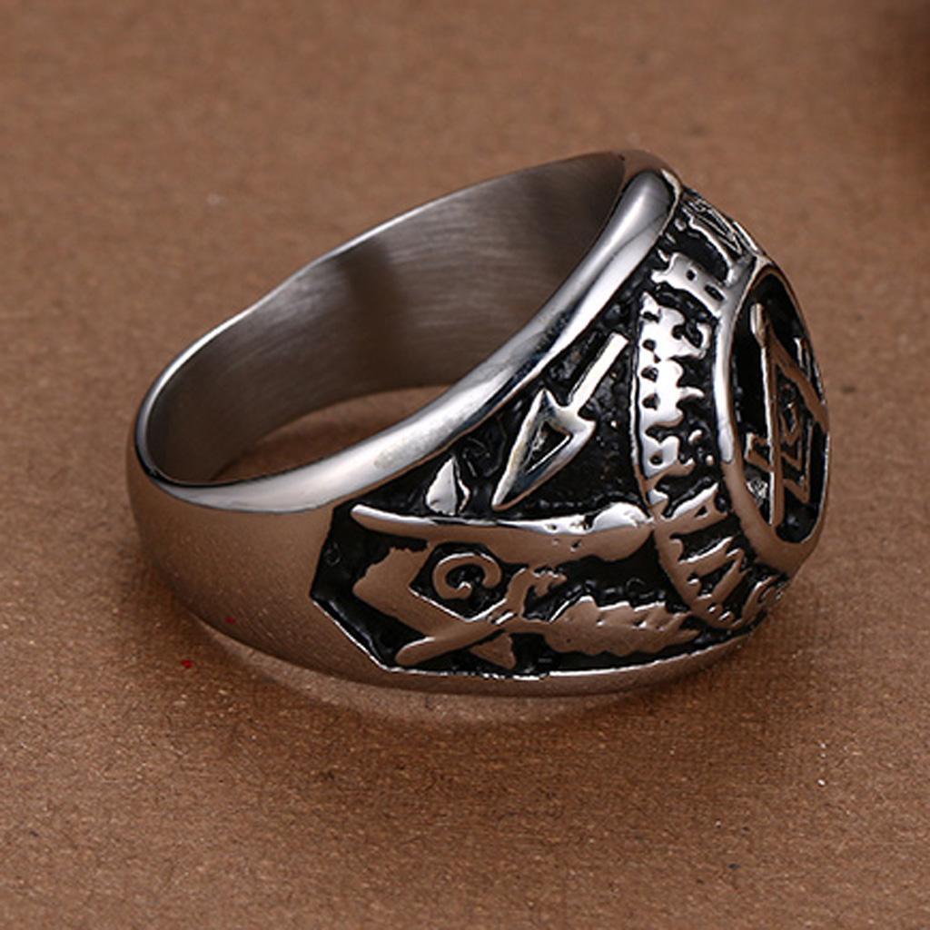 Stainless Steel Men Freemasonry Masonic Mason Biker Ring