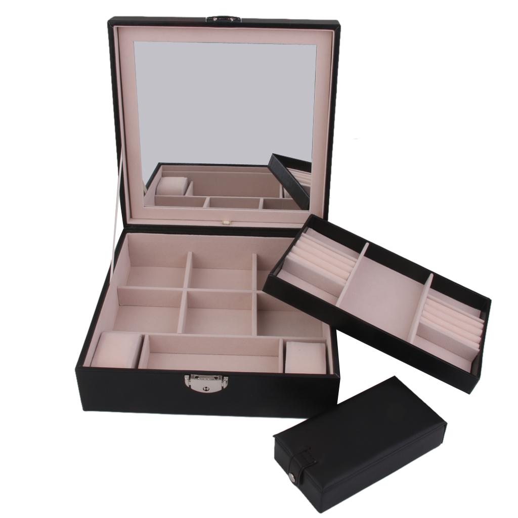 Wooden Jewelry Storage Box Earring Ring Watch Display Holder Organizer Black