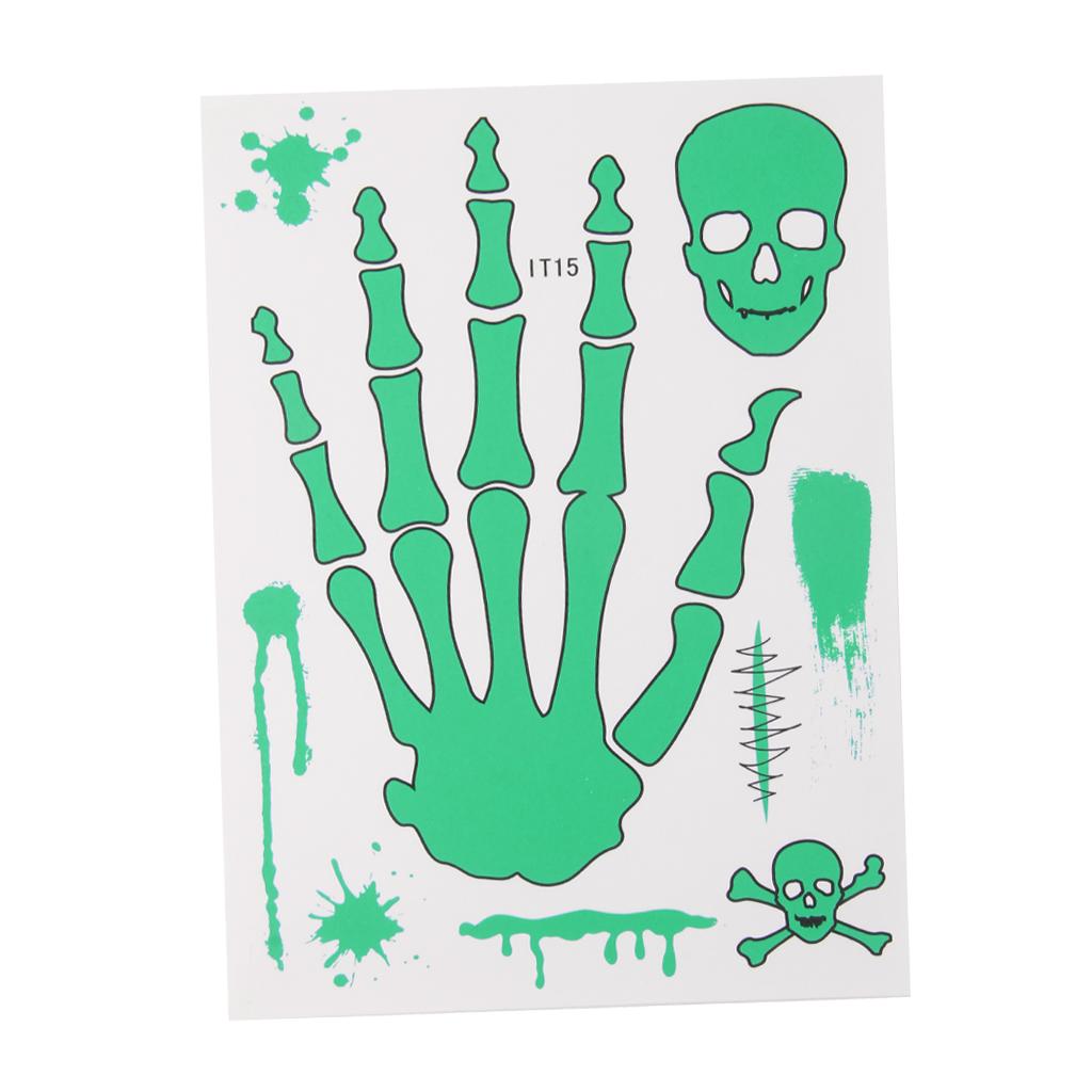 1 x Sheet Glow In Dark Luminous Temporary Tattoo Sticker Art - IT15