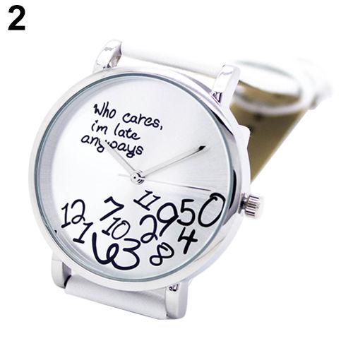 Fashion Women's Men's Faux Leather Letters Analog Quartz Wrist Watch White