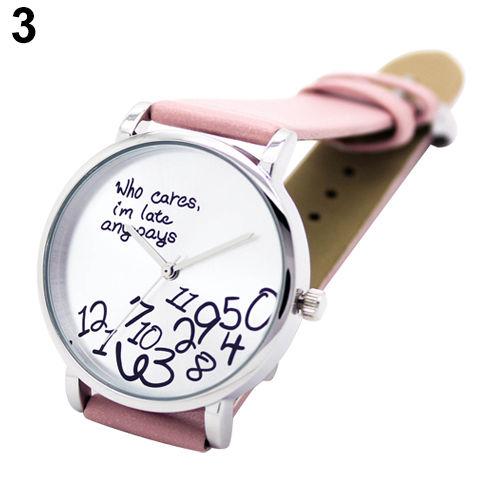 Fashion Women's Men's Faux Leather Letters Analog Quartz Wrist Watch Pink