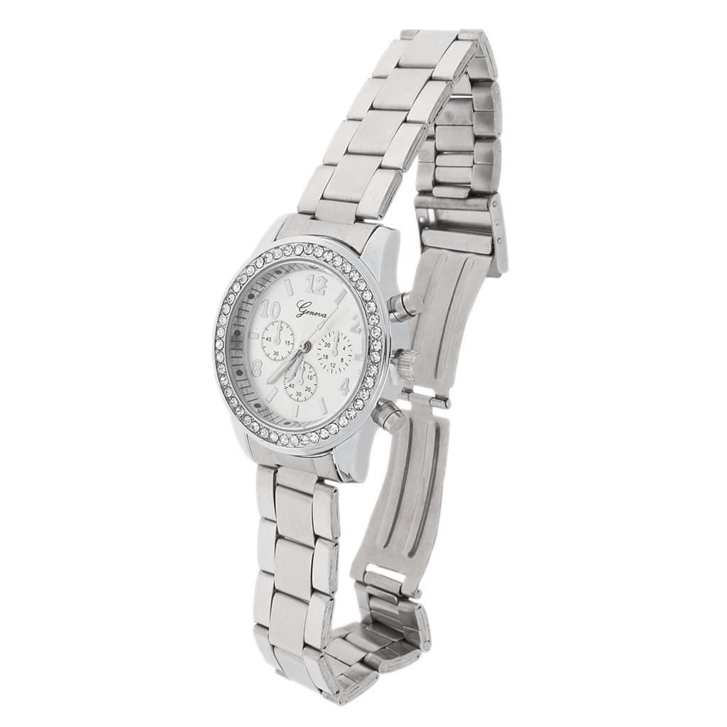 Fashion Ladies Women Unisex Stainless Steel Analog Quartz Wrist Watch Silver