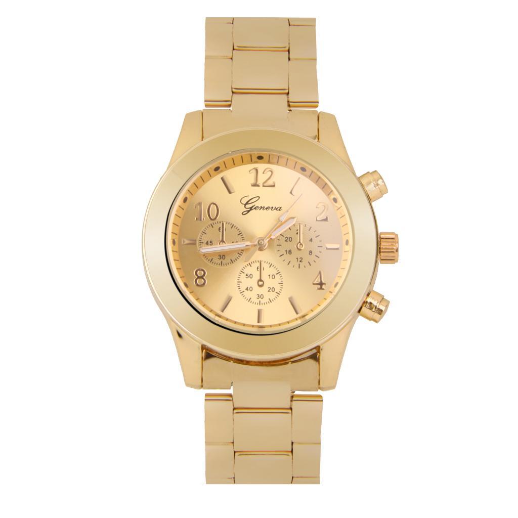 Fashion Ladies Women Unisex Stainless Steel Analog Quartz Wrist Watch Gold