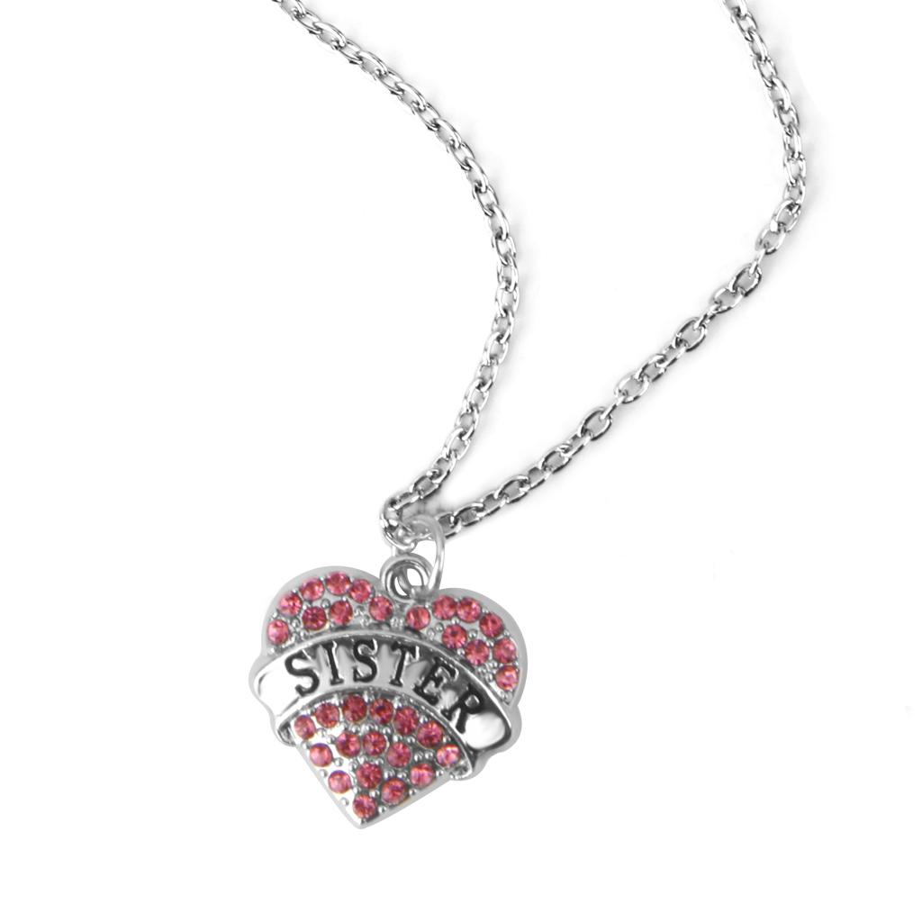Sister Pink Rhinestone Love Heart Charm Pendant Chain