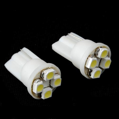 2 PCS White 4 SMD LED Wedge Car Light T10 - 12V