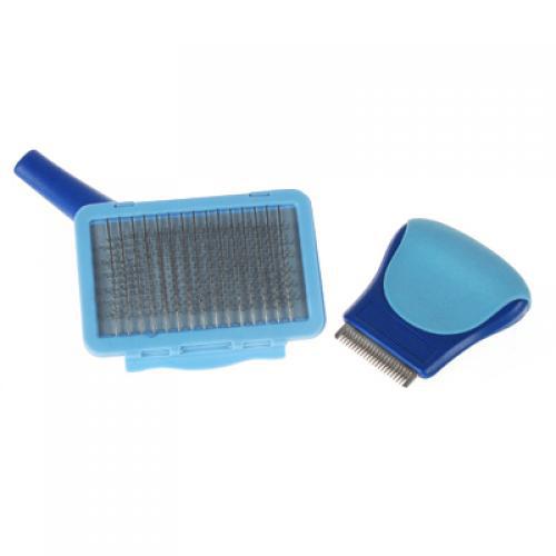 Pet Grooming Brush Set Steel Pin Comb Deshedding Brush - Large