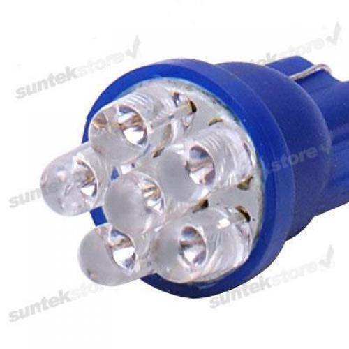 2x Blue 6-LED Car Dashboard Side Light Bulbs T10 194 12V