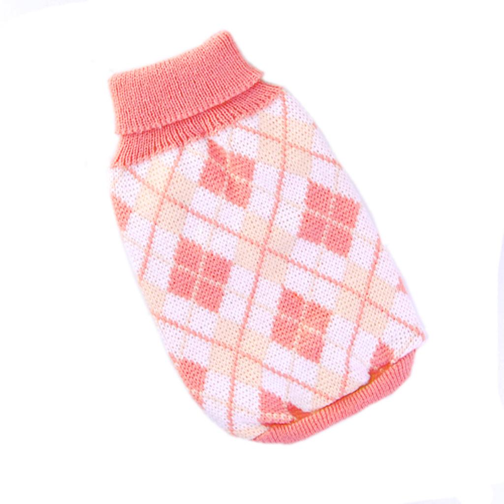 Knitting Pattern Argyle Sweater : Knit Turtleneck Dog Sweater Clothing Argyle Patterns Pink - XS - Free Shipping