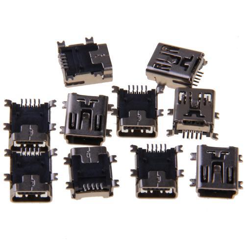 10x 5-Pin Female Mini USB Socket Connector