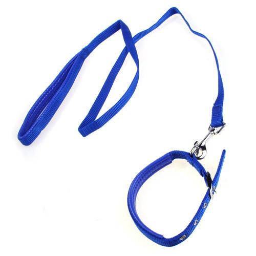 Blue Adjustable Pet Dog Cat Collar Leash