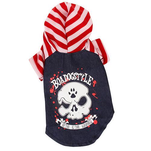 Hooded Punk Style Pet Dog Clothes Coat w/ Stripes Size 2