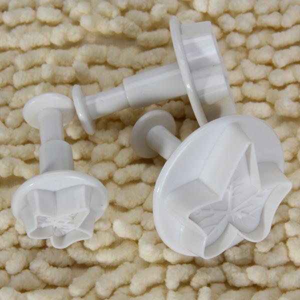 3pcs White Fondant Gum Paste Plunger Cutter - Maple Leaf