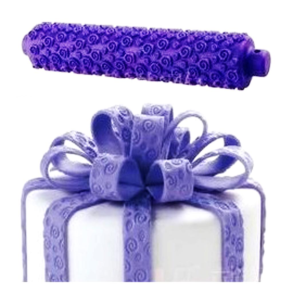 Spiral Pattern Plastic Fondant Roller Rolling Pin - Purple