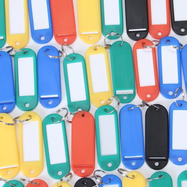 50pcs Plastic Key ID Label Tags with Split Ring