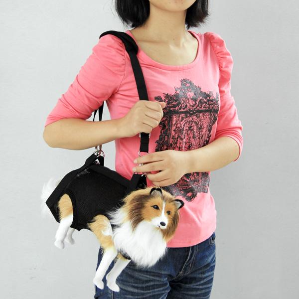 3 in 1 Pet Dog Coat Apparel Mesh Harness Bag Size M - Black