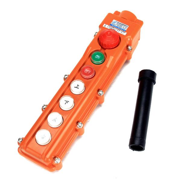 4 Ways Rainproof Hoist Pushbutton Switch Pendant Control Station w/ Emergency Stop