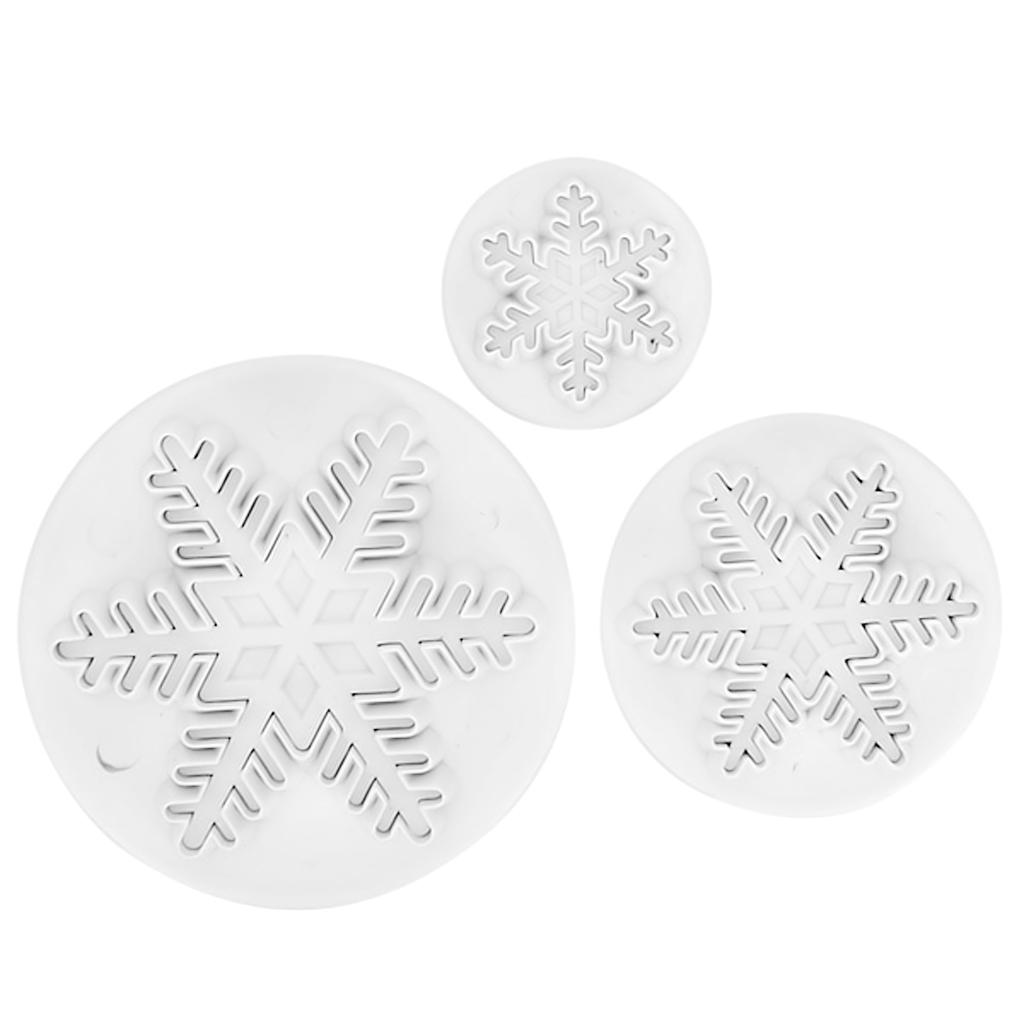 3pcs Snowflake Snow Flake Fondant Cake Cutter Plunger