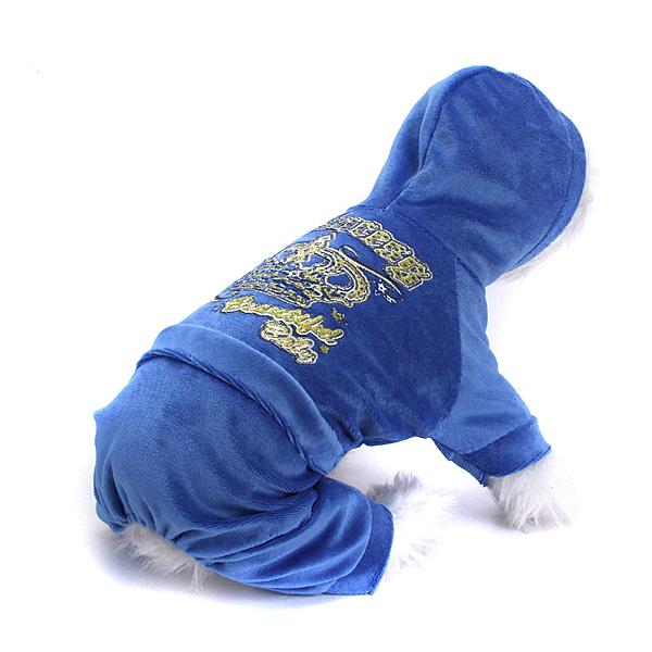 Pet Dog Hoodie Autumn Coat Velour Jumpsuit Clothes Sapphire (M)