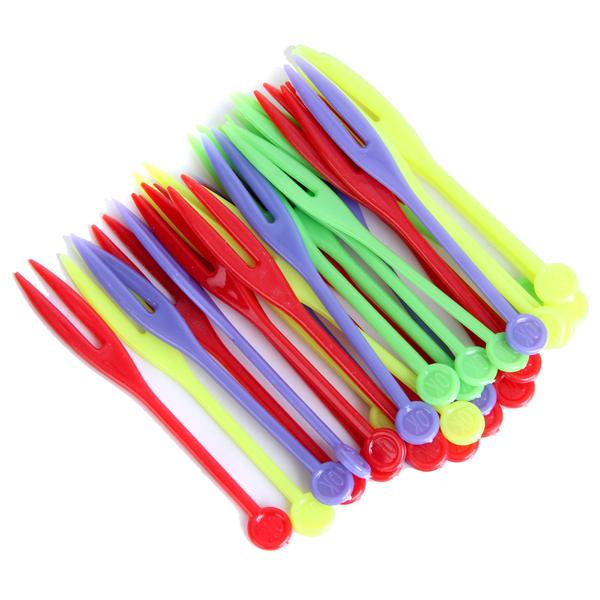 400pcs Disposable Fruit Forks Plastic Fruit Picks Skewer - Color Assorted