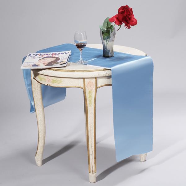 106 x 11 inch Satin Table Runner Chair Sash Chair Tie - Light Blue
