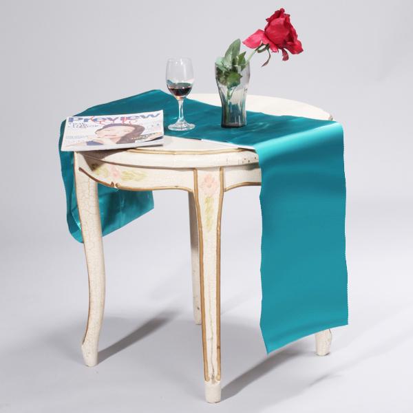 106 x 11 inch Satin Table Runner Chair Sash Chair Tie - Teal Blue