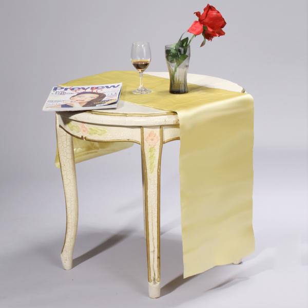 106 x 11 inch Satin Table Runner Chair Sash Chair Tie - Light Yellow
