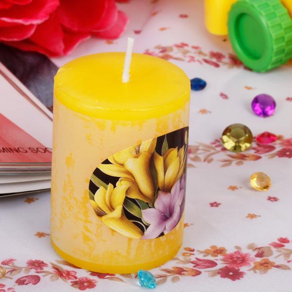 Pillar Shape Lemon Scented Candle Wedding Party Aromatherapy Candle Decor