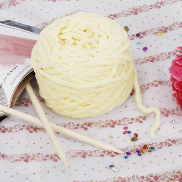 1 Skein Soft Cotton Chenille Knitting Yarn - Yellow
