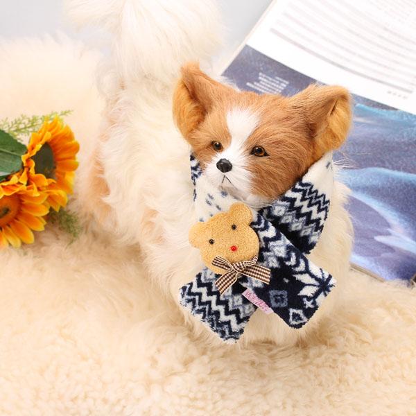 Soft Snowflake Pet Dog Winter Scarf Neck Wrap M - Deep Blue