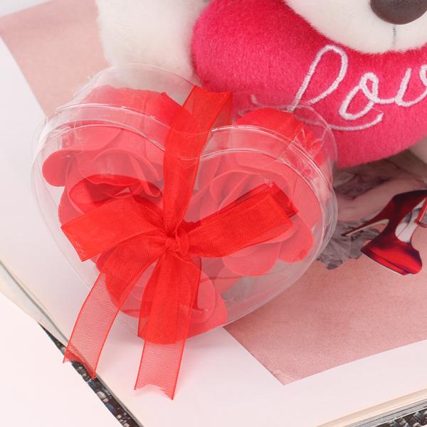 Soap Petal Rose Flower Bath Body Soap - Red