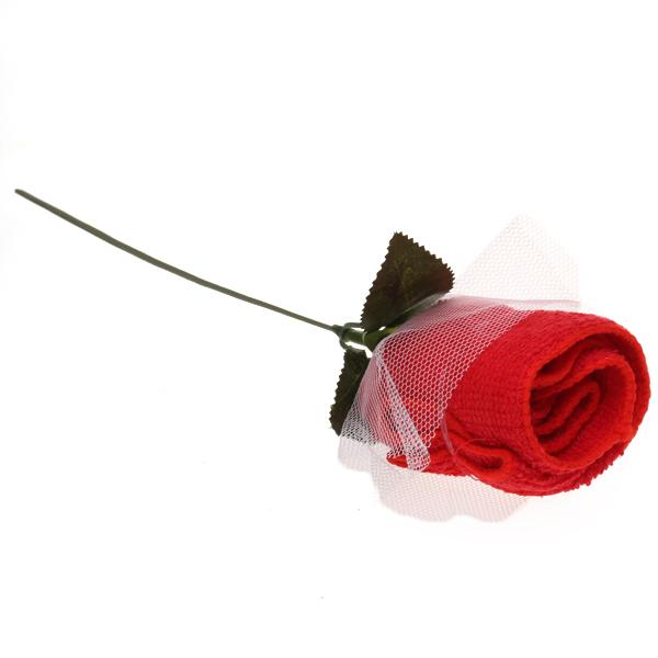 Towel Rose Flower Party Favor Washcloth - Red
