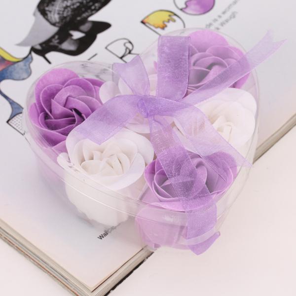 Soap Petal Rose Flower Bath Body Soap - Purple and White
