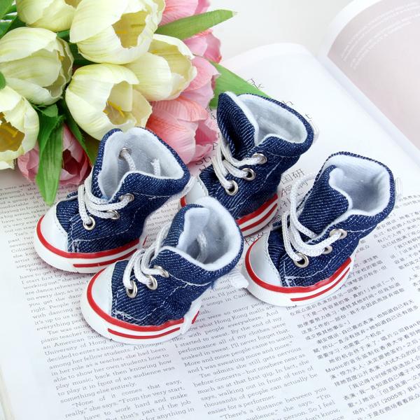 Pet Dog Boots Shoes Sneakers Size 3 - Denim Blue