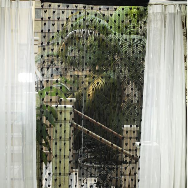 Heart Tassel String Door Curtain Window Room Divider - Black
