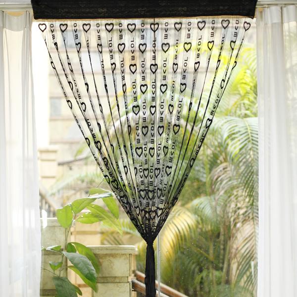 LOVE Heart Tassel String Door Curtain Window Room Divider - Black