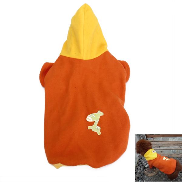Pet Dog Spring Autumn Hoodie Coat Clothes Apparel Size S - Orange